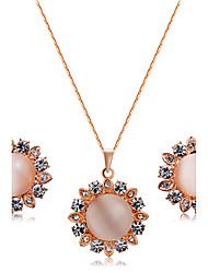 Кулоны Цепочка Серьги указан Опал Цирконий Мода Euramerican Цирконий Опал Сплав В форме цветка 1 ожерелье 1 пара сережек ДляСвадьба Для