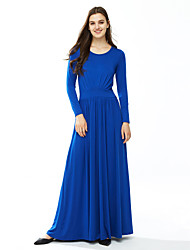 Women's Plus Size / Casual/Daily Solid / Simple Sheath DressSolid Ruched Sexy Round Neck Maxi Long SleeveSpring