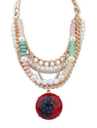 Women's Pendant Necklaces Jewelry Jewelry Pearl Gem Alloy Euramerican Fashion Personalized Light Blue Red Dark Blue Jewelry ForParty