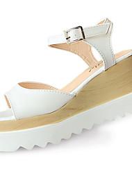 Da donna Sandali Club Shoes PU (Poliuretano) Primavera Estate Casual Formale Club Shoes Fibbia Zeppa Bianco Nero Champagne 7,5 - 9,5 cm