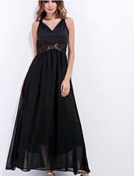 Women's Beach Holiday Street chic Swing Dress,Solid V Neck Maxi Sleeveless Rayon Summer High Rise Micro-elastic Medium
