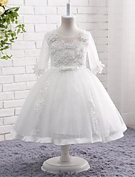A-line Knee-length Flower Girl Dress - Lace Tulle Jewel with Beading Bow(s) Embroidery Flower(s) Lace