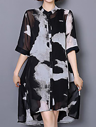 Women's Casual/Daily Simple Summer Cloak/Capes,Print Round Neck ½ Length Sleeve Long Polyester