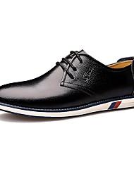 Черный Оранжевый-Для мужчин-Свадьба Для офиса Повседневный-Кожа-На плоской подошве-Удобная обувь Формальная обувь-Туфли на шнуровке