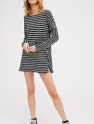 Women's Casual/Daily Street chic A Line Dress,Striped Boat Neck Mini Long Sleeve Cotton Summer Mid Rise Micro-elastic Thin