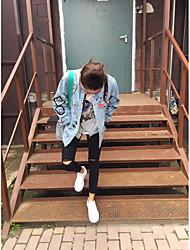 Veste en jean Femme,Couleur Pleine Sortie simple Eté Manches longues Col Arrondi Normal Polyester