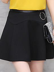 Damen Einfach Lässig/Alltäglich Über dem Knie Röcke A-Linie einfarbig Sommer