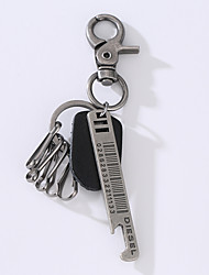 The New Punk Man's Vintage Cow Leather Alloy Key Ring Alloy Ruler Is Decorated With Ornaments