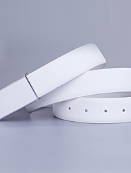 Men's fashion cross grain leather belt Black and white and dichromatic optional work and leisure party