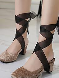 Damen-High Heels-Kleid-Vlies-Blockabsatz-Knöchelriemen-