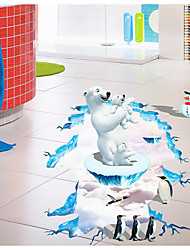 3D Polar Bears Penguins Sitting Room Bedroom Adornment Wall Stick  Floor