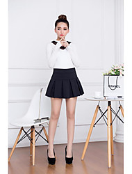 Women's High Rise Above Knee Skirts,Sexy A Line Solid