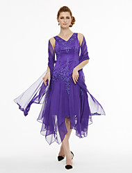Lanting Bride® Linha A Vestido Para Mãe dos Noivos - Assimétrico Duas Peças Assimétrico Sem Mangas Chiffon Cetim  -  Miçangas Pregas