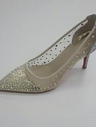 Women's Wedding Shoes Summer Fall Club Shoes Transparent Shoe PU Glitter Tulle Wedding Party & Evening Dress Stiletto Heel Rhinestone Gold