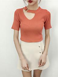 Damen Standard Pullover-Ausgehen Solide Rundhalsausschnitt Kurzarm Andere Sommer Dünn Mikro-elastisch