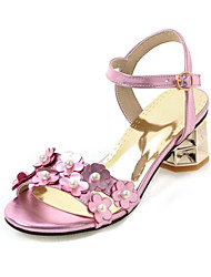 Women's Sandals Summer Club Shoes Comfort Patent Leather Customized Materials Wedding Party & Evening Dress Chunky HeelBeading Buckle