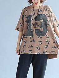 Tee-shirt Femme,Fleur Sortie Mignon ½ Manches Col Arrondi Coton