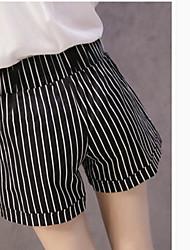 Femme simple Taille Haute Short Pantalon,Droite Rayé