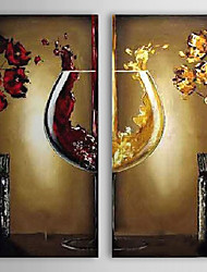 Hand-Painted Modern Abstract Red Yellow Wine glass Oil Painting On Canvas Wall Art For Home Decoration Ready To Hang 50*100cm*2Pcs