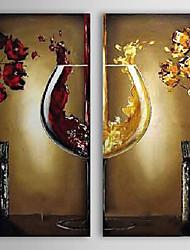 Ручная роспись Продукты питания Квадратная,Modern Европейский стиль 2 панели Холст Hang-роспись маслом For Украшение дома