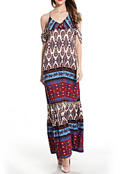 Women's Going out Party Vintage Loose Swing Dress,Print V Neck Maxi Sleeveless Polyester Summer High Rise Micro-elastic Medium