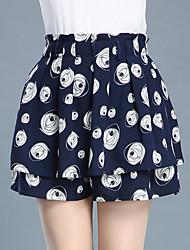 Femme Sexy Mignon Taille Haute Au dessus des genoux Jupes,Trapèze Plissé Effets superposés Imprimé
