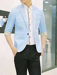 Men's Casual/Daily Work Simple Spring Fall Blazer,Solid Stand Long Sleeve Regular Wool