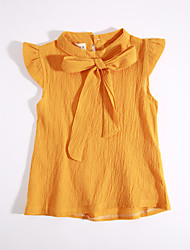 Casual/Daily Solid Blouse,Cotton Summer