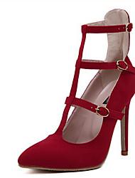 Damen-High Heels-Lässig-PUFersenriemen-Schwarz Rot