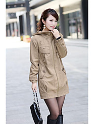 Women's Casual/Daily Simple Spring Fall Coat,Solid Hooded Long Sleeve Long Linen