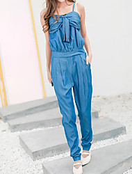 Women's High Rise Casual/Daily Jumpsuits,Simple Slim Solid Summer