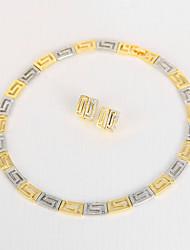 Set de Bijoux Collier court /Ras-du-cou Cristal Géométrique Strass Alliage Forme Géométrique Or1 Collier 1 Paire de Boucles d'Oreille 1