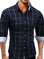 Men's Casual/Daily Formal Work Simple Chinoiserie Spring Fall Shirt,Polka Dot Shirt Collar Long Sleeve Cotton Opaque