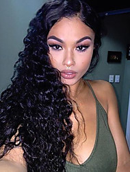 Brazilian Virgin Hair Lace Wig Lace Front Natural Color Water Wave Lace Wig-glueless with Baby Hair