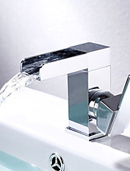 Contemporary Design Single Handle Single Hole Chrome Finish Waterfall Bathroom  Basin Sink Faucet Hot And Cold Water Mixer Tap