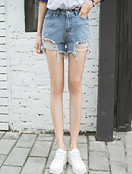 Women's Street chic /Casual High Waist Micro-elastic Jeans Shorts Pants Straight Ripped Tassel Solid