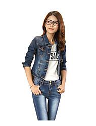 Veste en jean Femme,Imprimé Décontracté / Quotidien simple Automne Manches longues Revers en Pointe Normal Coton