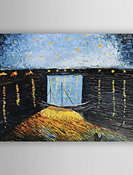 Hand-Painted  Starry Night Over the Rhone C.1888 by Vincent Van Gogh With Stretcher For Home Decoration Ready to Hang