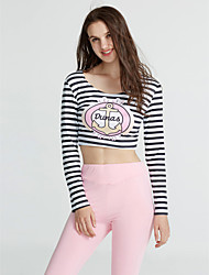 Mujer Simple Activo Chic de Calle Casual/Diario Discoteca Noche Otoño Invierno T-Shirt Pantalón Trajes,Escote en U A Rayas Estampado