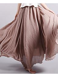 Для женщин Midi Подол,Со стандартной талией Качеля Однотонный