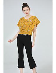 Manches Ajustées Pantalon Costumes Femme,Imprimé Décontracté / Quotidien simple Eté Recadrée Pant Col en V non élastique