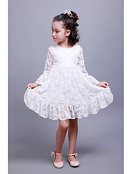 Sheath / Column Knee-length Flower Girl Dress - Lace Satin Long Sleeve Jewel with Lace Pleats