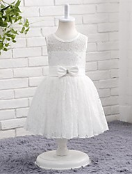 A-line Knee-length Flower Girl Dress - Lace Tulle Jewel with Bow(s) Lace