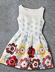 Girl's Casual/Daily Holiday School Print Dress,Polyester Summer Sleeveless