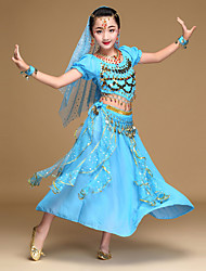 Belly Dance Outfits Kid's Performance Chiffon Spandex Coins Sequins 5 Pieces Short Sleeve Dance Costume Natural Top /Veil /Hip Scarf /Skirt /Headpiece