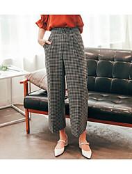 Mujer Sencillo Tiro Alto Microelástico Chinos Pantalones,Perneras anchas Escocés