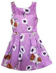 Girls Dress Purple Daisy Flower Print Dresses Party Birthday Wedding Casual Children Clothing Summer Kids Clothes