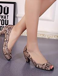 Feminino-Saltos-Sapatos clube-Salto Grosso-Preto Cinzento-Outras Peles de Animais-Social Casual