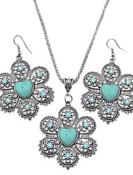Toonykelly ® Vintage Look Antique Silver Alloy Hollow Love Heart Turquoise Stone Jewelry Set(1Set)