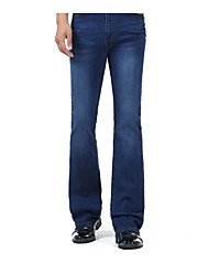 Men's High Rise Micro-elastic Jeans Pants,Simple Bootcut Solid